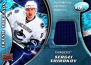 UD-ICE-2009-SERGEI-SHIROKOV-NHL-RC-CANUCKS-RARE-THREADS-ROOKIE-GAME-JERSEY-FFSS
