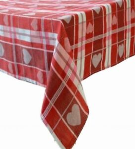 Celebrate Red Hearts Plaid Valentine Day Tablecloth Fabric Table
