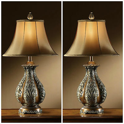 """TWO ANTIQUE STYLE 30"""" RESIN GOLDEN BRONZE TABLE LAMP LARGE SILK SHADE LIGHTING"""