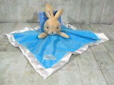 Peter Rabbit Security Blanket Blue Baby Blanky Velour Satin Lovey Bunny New