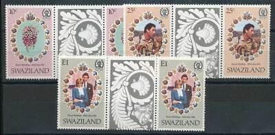 250174) Swaziland Zwischenstegpaare Nr.375-7** Hochzeit Lady Diana Up-To-Date-Styling
