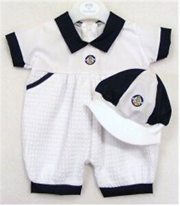 Kinder White /& Navy Baby Boy Blue Sailor Ramper Suit and Cap LAST ONE SALE