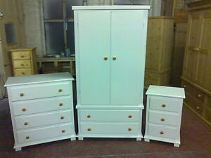Home & Garden Handmade Texan Shaker 3 Piece Bedroom Pack White With Pine Trim No Flat Packs High Standard In Quality And Hygiene Furniture