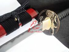 Clay tempered sanmai blade jp katana sword tiger tsuba geometrical kissaki sharp