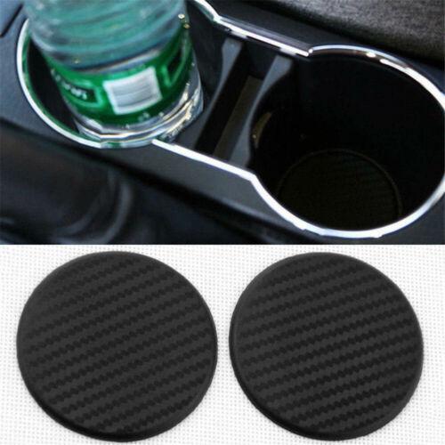 2Pcs Black Car Vehicle Water Cup Slot Non-Slip Carbon Fiber Mat Accessories Tool