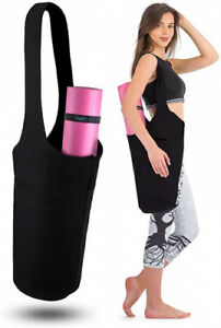 (Black) - Zenifit Yoga Mat Bag - Long Tote with Pockets - Holds More Yoga