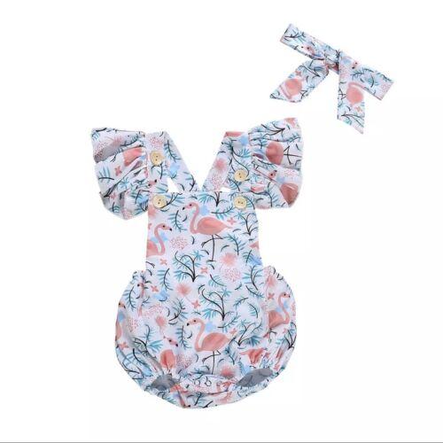 Baby Romper Summer Newborn Baby Girl Flamingo Fly Sleeve Headband Set 6M