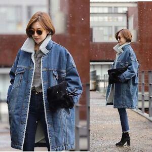 Women Fleece Denim Jacket Winter Thicken Warm Fur Lining Parka ...