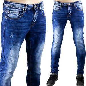 Pantaloni Morbidi Uomo Jeans Elastici Blu Denim Slim Fit Comodi Segni Sfumati