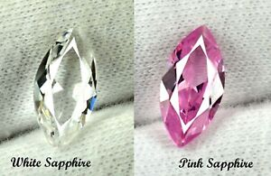 Free Gift 5.45 Ct White & Pink Sapphire Gemstone Pair Marquise Natural Certified