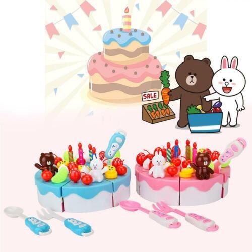 39-86Pcs DIY Pretend Play Fruit Cutting Birthday Cake Kitchen Food Toys EV