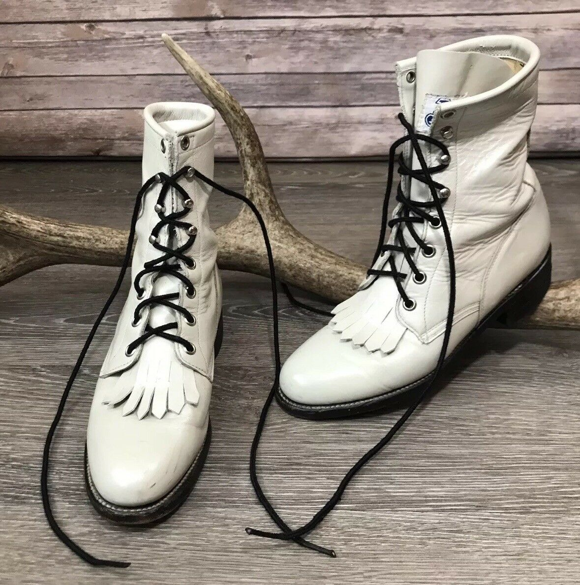 Justin USA Ivory Leather Western Lace Up Kiltie Roper Boots shoes Women's 5.5 B