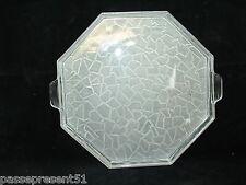 Joli ancien plateau en verre satiné, blanc, 1930, Art déco
