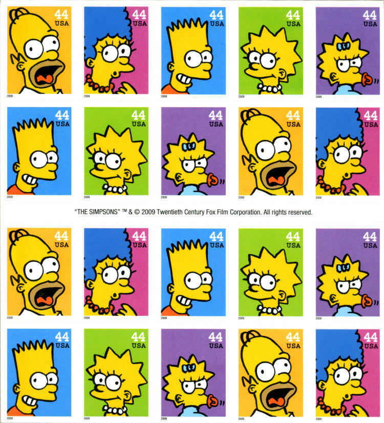 2009 44c The Simpsons Television Show, Sheet of 20 Scot