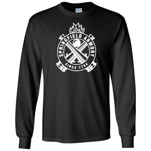 SPRINGFIELD-ARMORY-Logo-Blanc-Chemise-a-manches-longues-2nd-amendement-Pro-Gun-tee-NEW