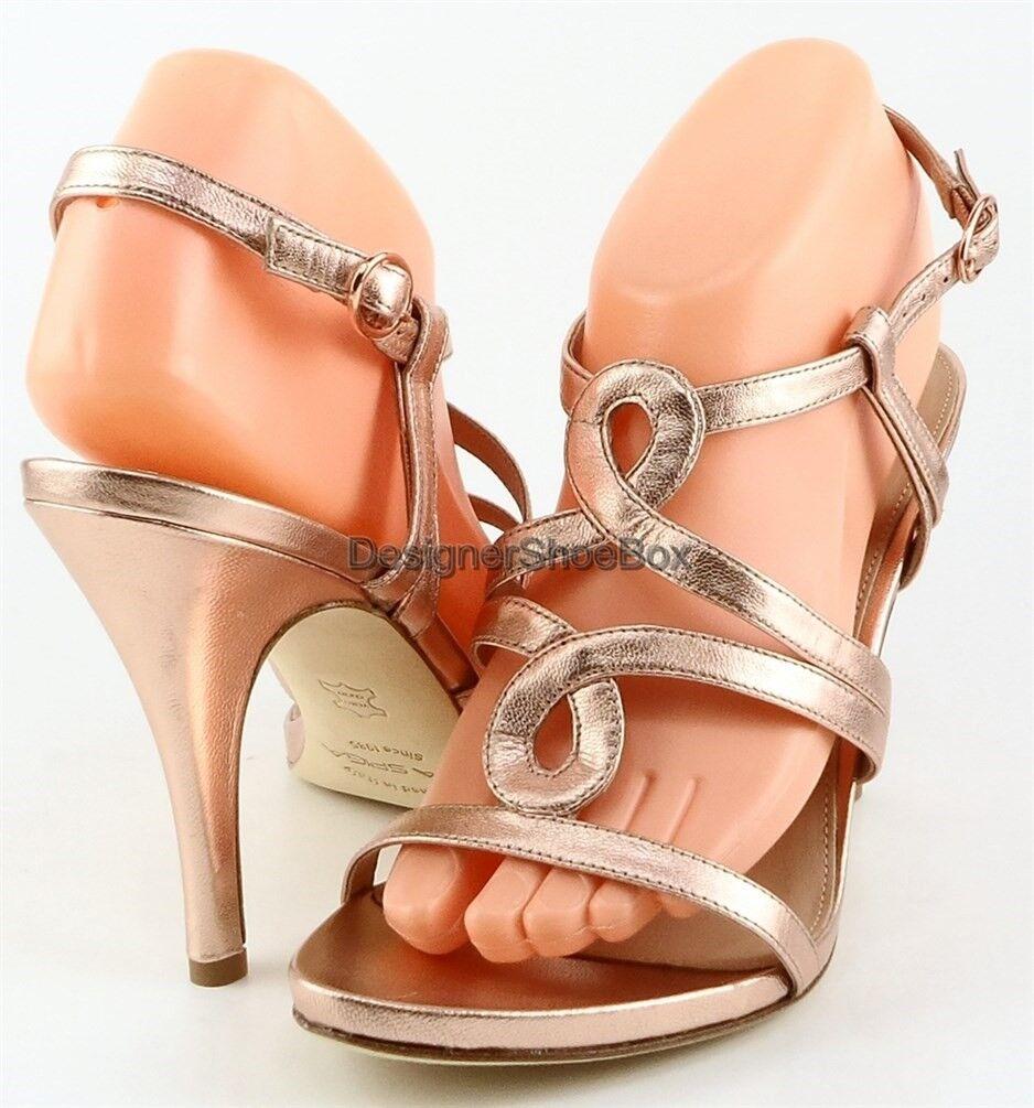 225 VIA SPIGA HONOUR 2 Rose Gold Leder Designer Strappy High Heel Sandales 7.5