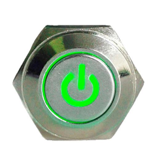16mm 12V KFZ Schalter Drucktaster Taster Leistung LED Beleuchtet Grün