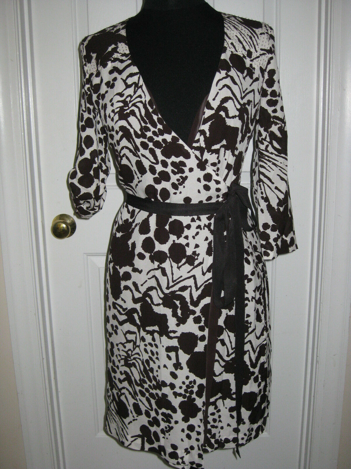 NEW TORY BURCH Summer Dress Dress Dress 0 Authentic Coconut White Brown Lined Wrap  275 ba84cf