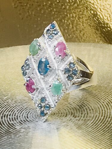 Details about  /NEW GENUINE RUBY//EMERALD// BLUE SAPPHIRE RING SILVER RHODIUM OVER//SIZE 8//TCW 42.5