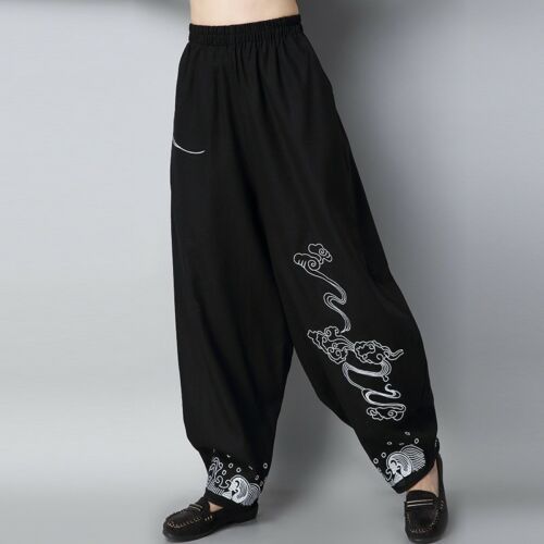 Women Lady Chinese Linen Cotton Embroidery Harem Pants Loose Long Baggy Trousers