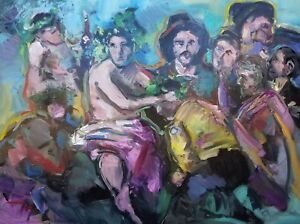 JOSE-TRUJILLO-HUGE-ART-Triumph-Of-Bacchus-Oil-Painting-Expressionist-Figures