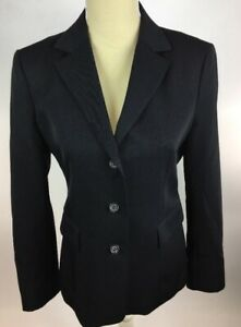 J-Crew-Women-039-s-Black-100-Wool-Two-Button-Blazer-Jacket-Size-8-Fully-Lined