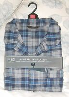 Marks And Spencer Men's Brushed Cotton Pure Thermal Pyjamas XX Large Blue