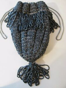 Antique Art Deco Crochet Silver Grey Bead Lined Chain Drawstring Flapper Purse Bags, Handbags & Cases Periods & Styles