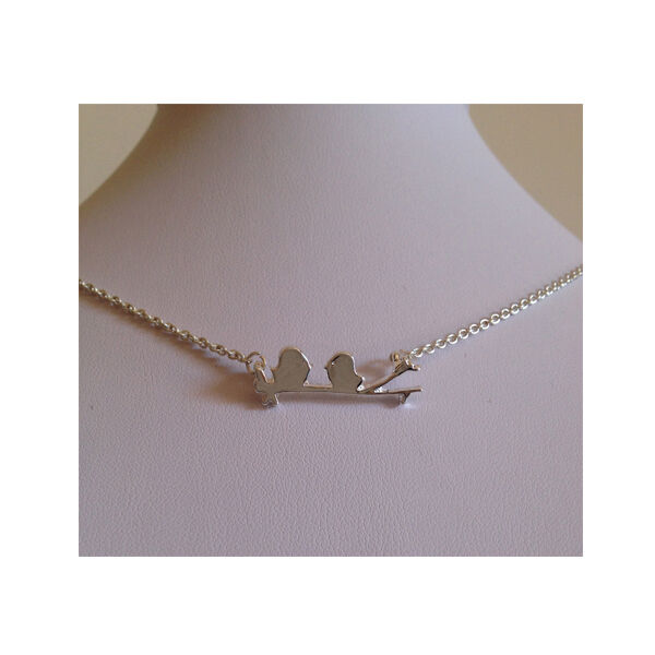 Petite Two Birds On A Branch Silver Necklace
