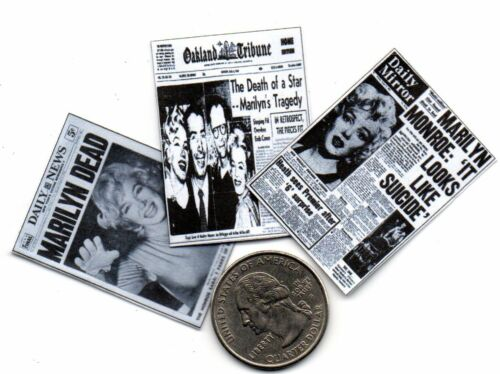 Dollhouse 1:12 scale 3 Miniature /'Marilyn Monroe/'    Newspapers