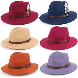 Fedora-Hat-Wool-Felt-Hawkins-Feather-Band-Trilby-Ladies-Men-Travel-Brim-Travel