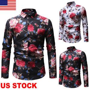 Fashion-Casual-Floral-Print-Button-Down-Long-Sleeve-Men-039-s-Shirt-Slim-Fit-Top-USA