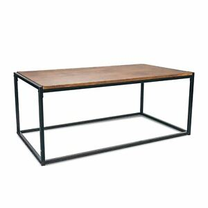 Industrial Style Coffee Table Dark Wood Black Steel Frame