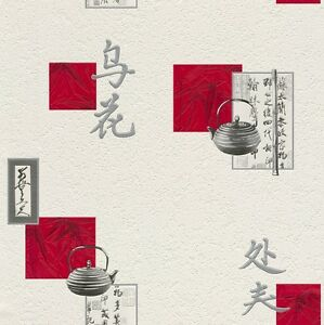 Tapete Küche Asien cremeweiß grau rot Tapete Aqua Relief 4 Rasch ...