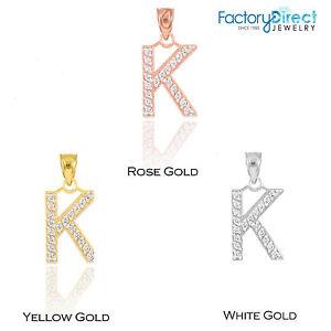 10k 14k yellow rose white gold letter k diamond initial pendant image is loading 10k 14k yellow rose white gold letter 034 aloadofball Choice Image