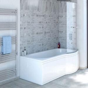 Details zu Raumspar Badewanne mit Duschzone 150x80/70 cm rechts weiß  Komplett-Set