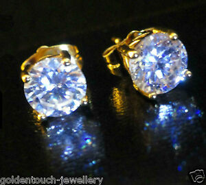 Men-039-s-Round-7mm-Simulated-Diamond-18K-Yellow-Gold-Filled-Stud-Earrings-UK