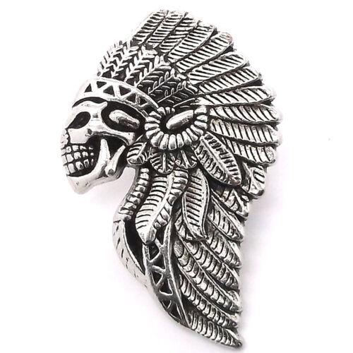 "Skull And Head Dress Concho Snap Cap Antique Nickel 1/"" 1265-82"