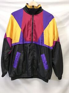 5a4763228 Details about Slade 90s 80s Windbreaker Black Purple Yellow Red Color block  Mens Medium Jacket