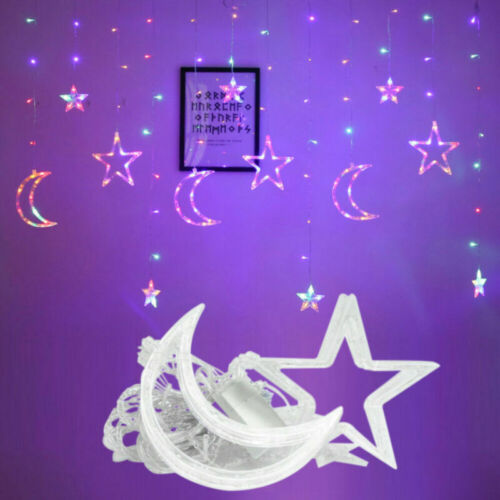 LED String Lights Star Moon Curtain Lamp Wedding Birthday Christmas Decoration