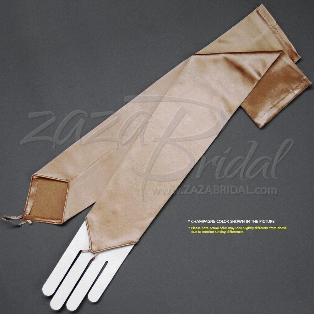 "23/"" White Fingerless Stretch Satin Formal Wedding Bridesmaid Opera Gloves g3wt."