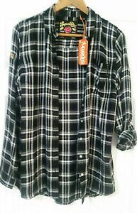 Superdry-Maya-XXL-Shirt-Noir-amp-Blanc-Carreaux-UK-12-Bnwt