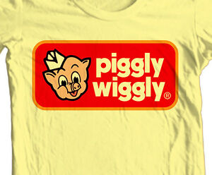 Piggly-Wiggly-T-shirt-retro-70-039-s-80-039-s-vintage-brands-cotton-printed-graphic-tee