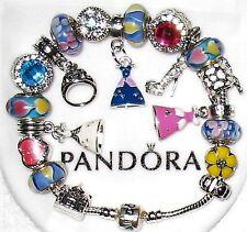 Pandora Charm Bracelet Disney Cinderella Princess Dress w/ 6 Pandora Glass Beads