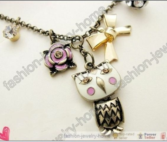 Retro Bronze Lovely Owl Clear Crystal Pendant Chain Necklace