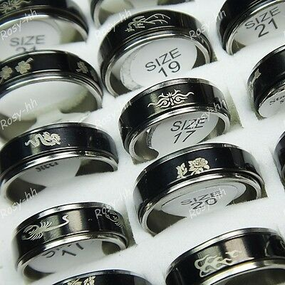 10pcs Wholesale Jewelry Lots Black Double-layer Spin Stainless steel Mix Rings