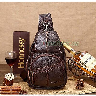 Men Genuine Leather Vintage Travel Shoulder Messenger Cross Body Sling Chest Bag