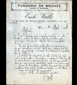 """HIRSON (02) USINE de QUINCAILLERIE / FONDERIE de BRONZE """"Emile WALLE"""" en 1928 - France - État : Occasion : Objet ayant été utilisé. Consulter la description du vendeur pour avoir plus de détails sur les éventuelles imperfections. Commentaires du vendeur : """"CORRECT"""" - France"""