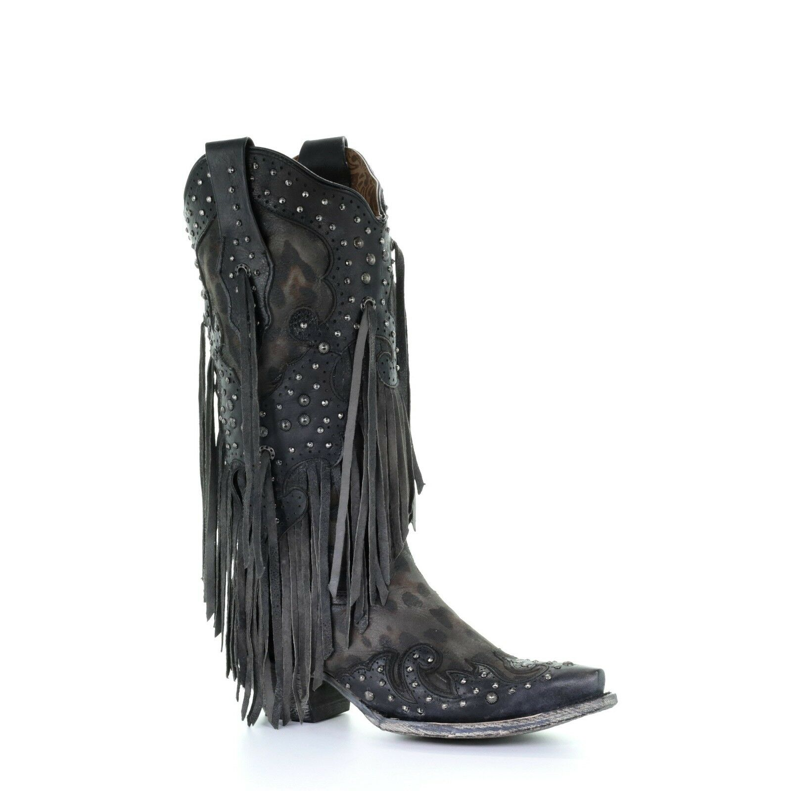 Corral Ladies Grey Goat Overlay Studs and Fringe Western Boots A3619