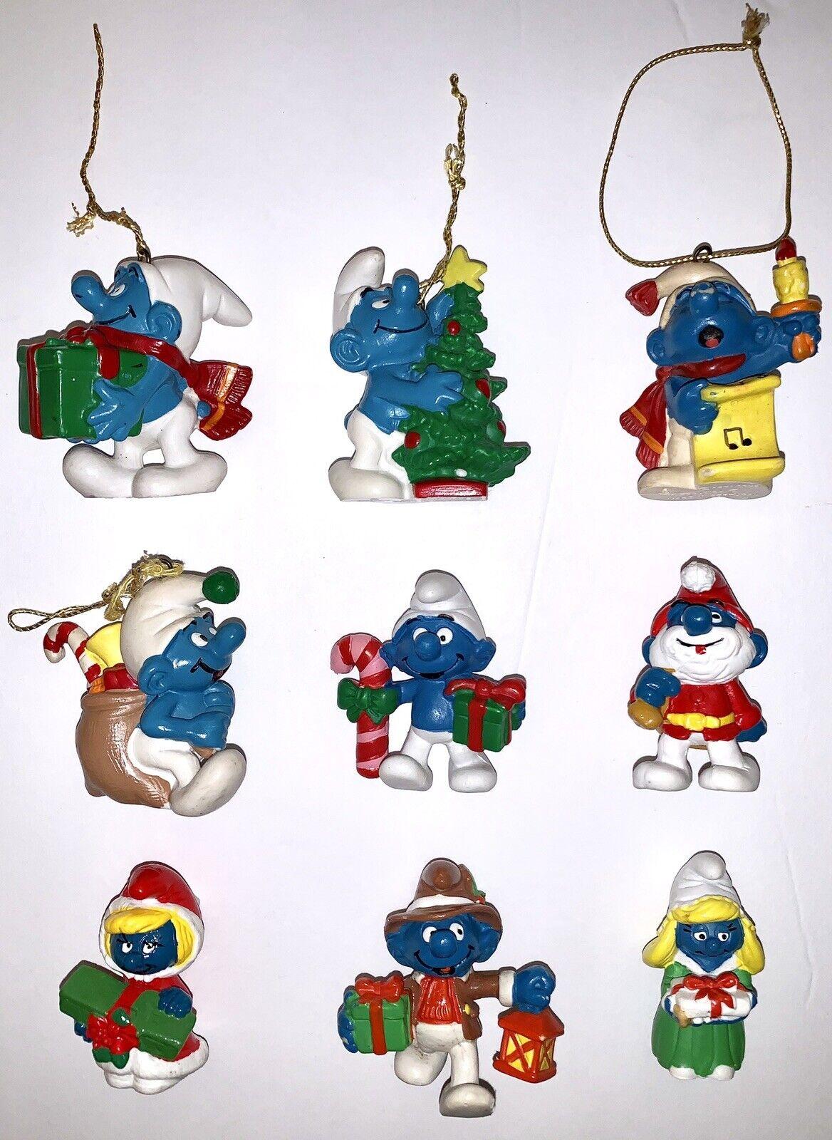 RARE Vintage 80's Smurfs Christmas PVC Figures & OrnaSiets Lot  Peyo Schleich